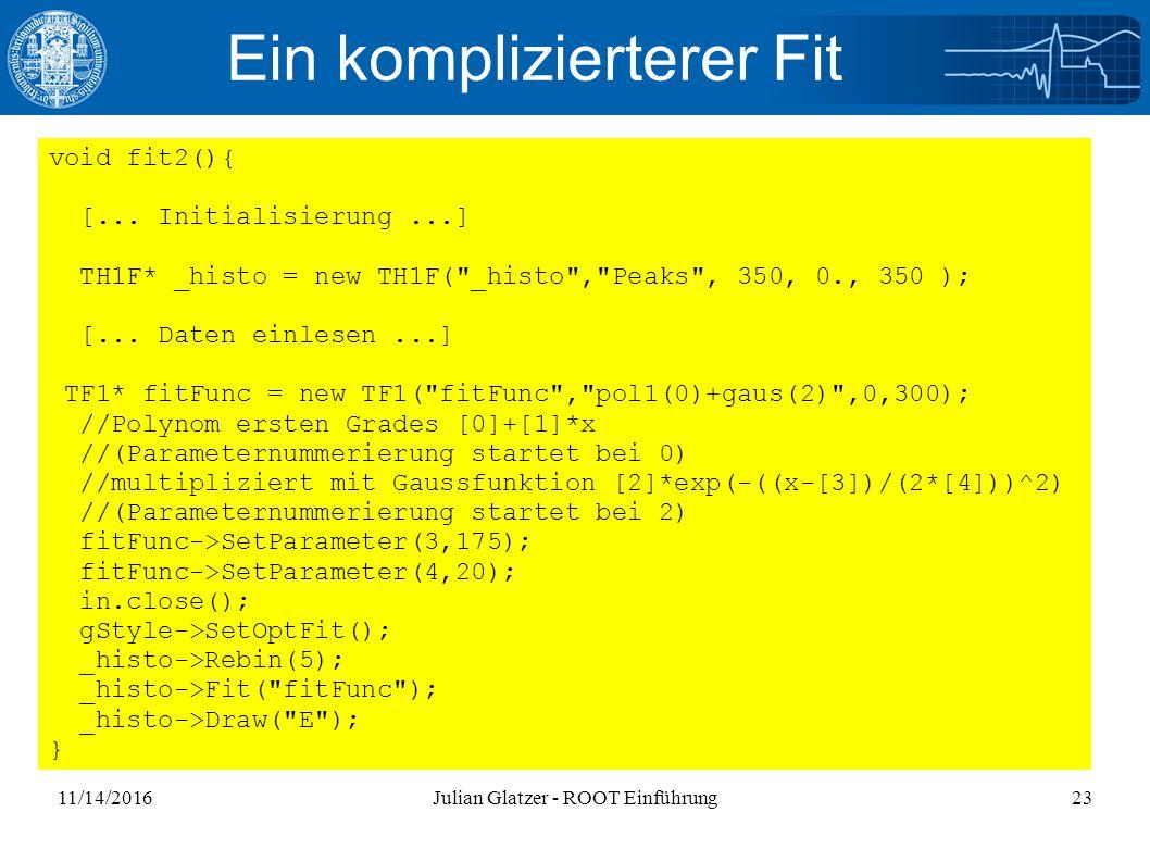11/14/2016Julian Glatzer - ROOT Einführung23 Ein komplizierterer Fit void fit2(){ [...