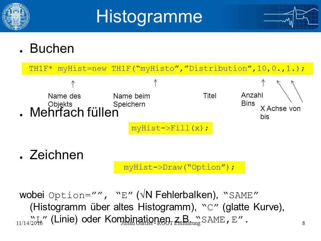 11/14/2016Julian Glatzer - ROOT Einführung8 Histogramme ● Buchen ● Mehrfach füllen ● Zeichnen wobei Option= , E (√N Fehlerbalken), SAME (Histogramm über altes Histogramm), C (glatte Kurve), L (Linie) oder Kombinationen z.B.