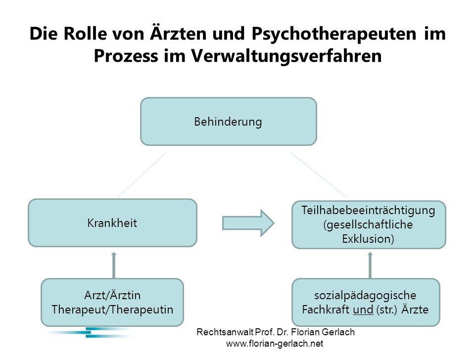 Die Rolle von Ärzten und Psychotherapeuten im Prozess im Verwaltungsverfahren Rechtsanwalt Prof.