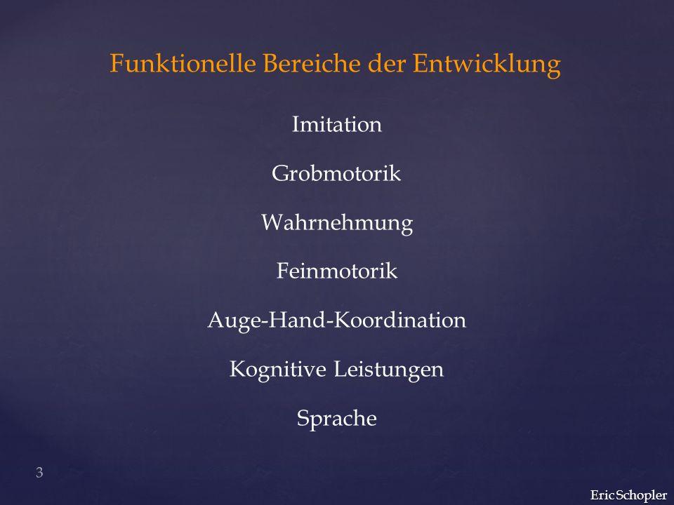 Funktionelle Bereiche der Entwicklung Imitation Grobmotorik Wahrnehmung Feinmotorik Auge-Hand-Koordination Kognitive Leistungen Sprache Eric Schopler 3