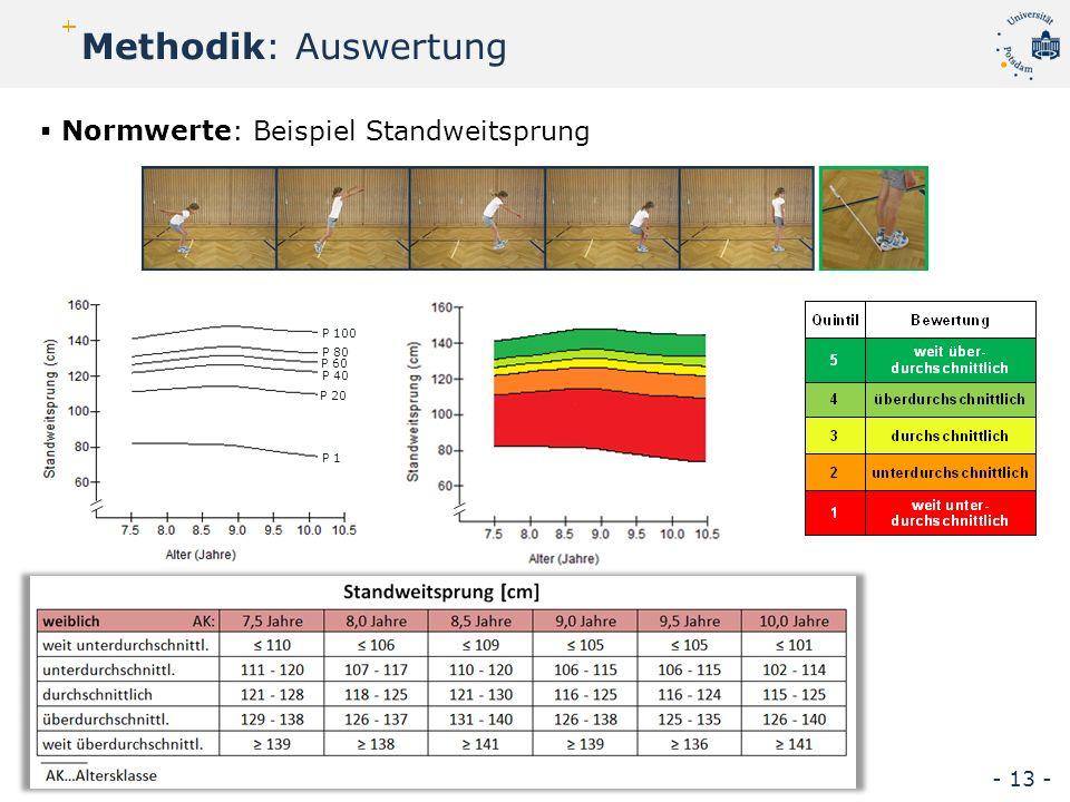 P 20 P 40 P 80 P 60 P 100 P 1  Normwerte: Beispiel Standweitsprung Methodik: Auswertung - 13 - vgl.