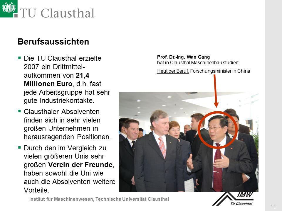 11 Institut für Maschinenwesen, Technische Universität Clausthal Berufsaussichten  Die TU Clausthal erzielte 2007 ein Drittmittel- aufkommen von 21,4 Millionen Euro, d.h.