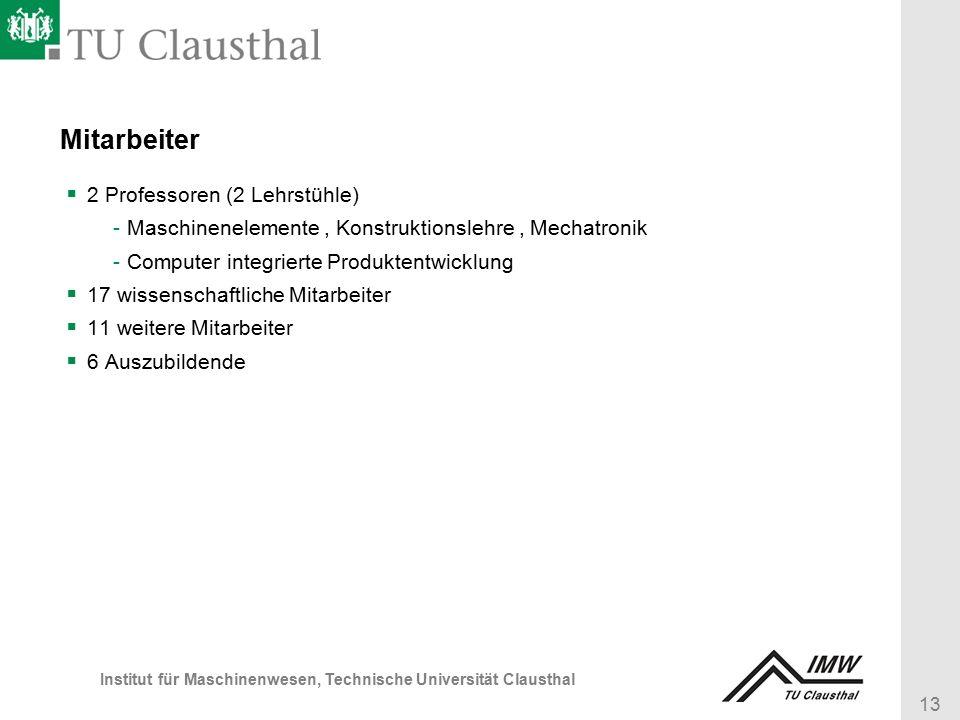 13 Institut für Maschinenwesen, Technische Universität Clausthal Mitarbeiter  2 Professoren (2 Lehrstühle) -Maschinenelemente, Konstruktionslehre, Mechatronik -Computer integrierte Produktentwicklung  17 wissenschaftliche Mitarbeiter  11 weitere Mitarbeiter  6 Auszubildende