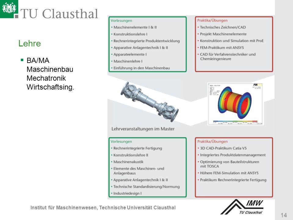 14 Institut für Maschinenwesen, Technische Universität Clausthal Lehre  BA/MA Maschinenbau Mechatronik Wirtschaftsing.