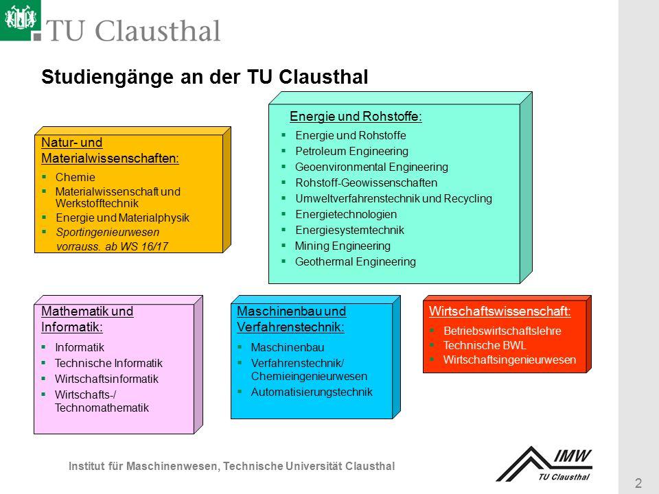 2 Institut für Maschinenwesen, Technische Universität Clausthal Studiengänge an der TU Clausthal  Chemie  Materialwissenschaft und Werkstofftechnik  Energie und Materialphysik  Sportingenieurwesen vorrauss.