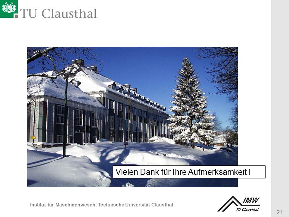 21 Institut für Maschinenwesen, Technische Universität Clausthal Vielen Dank für Ihre Aufmerksamkeit !