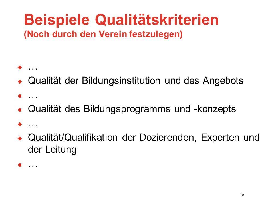 Beispiele Qualitätskriterien (Noch durch den Verein festzulegen)  …  Qualität der Bildungsinstitution und des Angebots  …  Qualität des Bildungsprogramms und -konzepts  …  Qualität/Qualifikation der Dozierenden, Experten und der Leitung  … 19