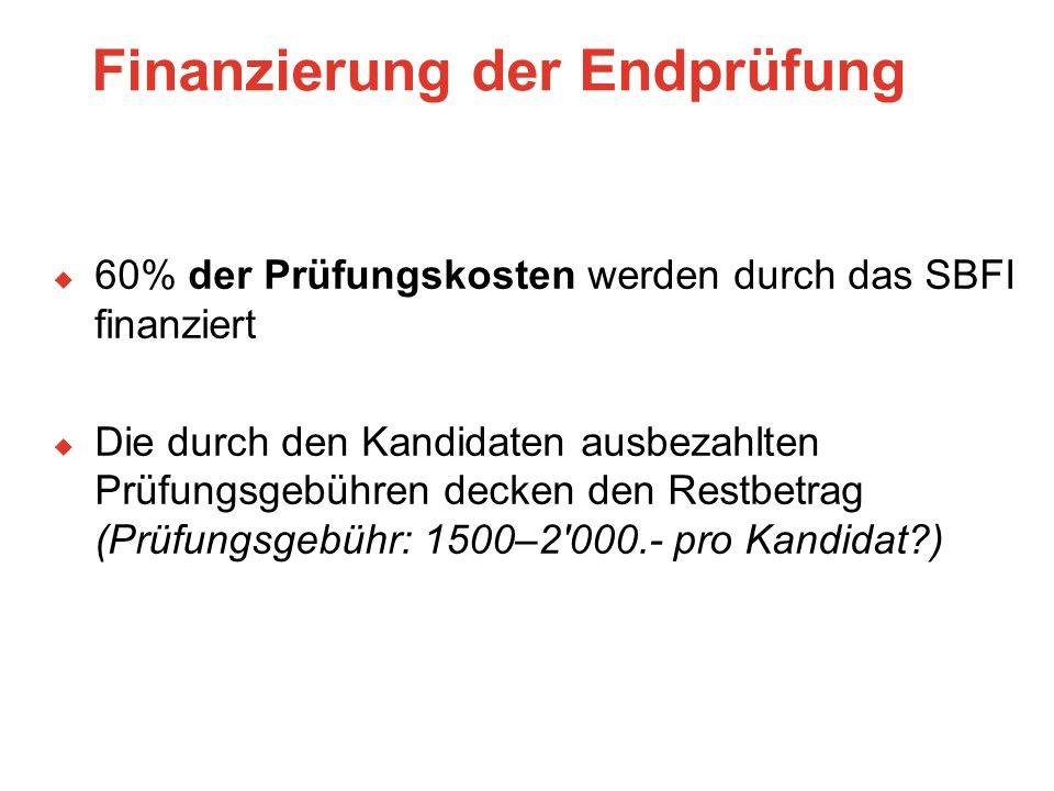Finanzierung der Endprüfung  60% der Prüfungskosten werden durch das SBFI finanziert  Die durch den Kandidaten ausbezahlten Prüfungsgebühren decken den Restbetrag (Prüfungsgebühr: 1500–2 000.- pro Kandidat ).