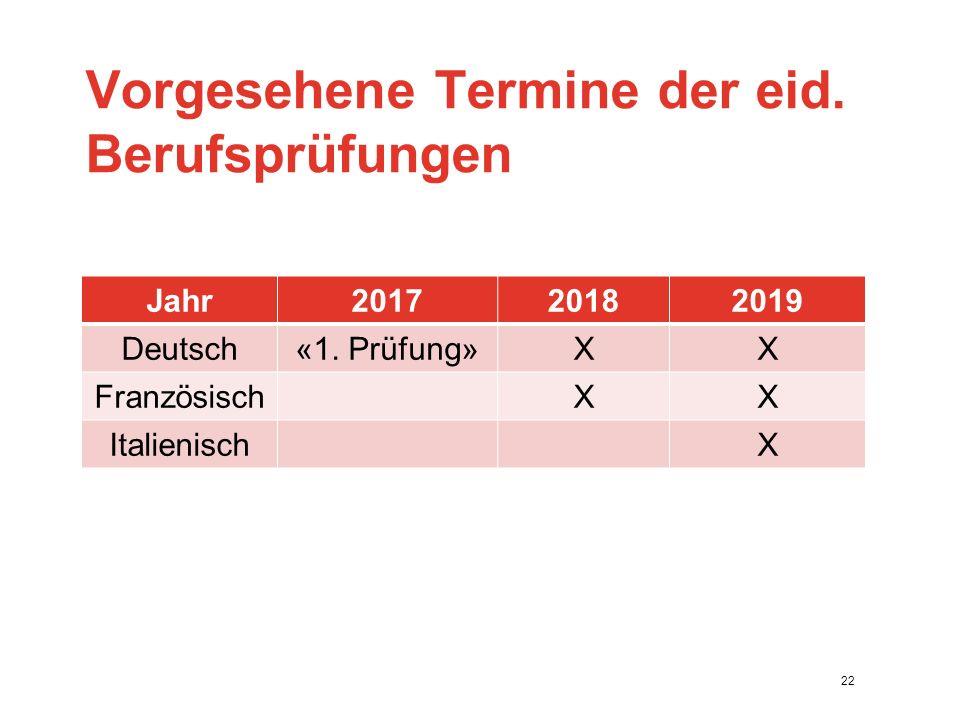 Vorgesehene Termine der eid. Berufsprüfungen Jahr201720182019 Deutsch«1.