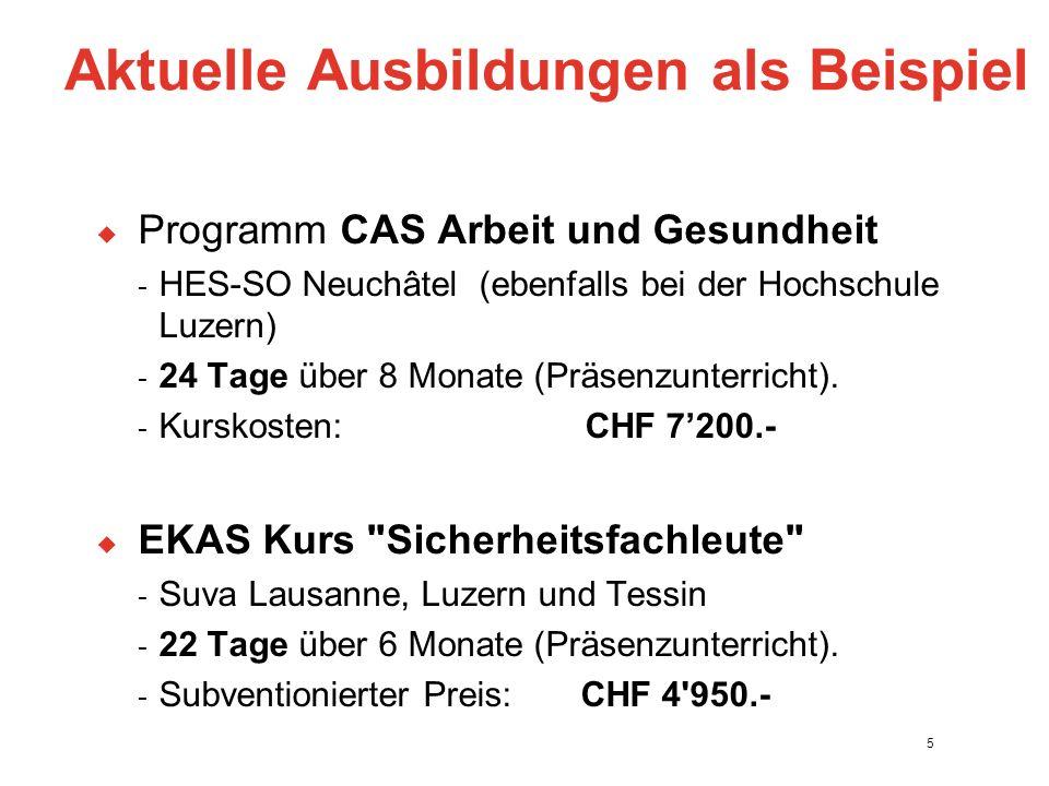 Aktuelle Ausbildungen als Beispiel  Programm CAS Arbeit und Gesundheit - HES-SO Neuchâtel (ebenfalls bei der Hochschule Luzern) - 24 Tage über 8 Monate (Präsenzunterricht).