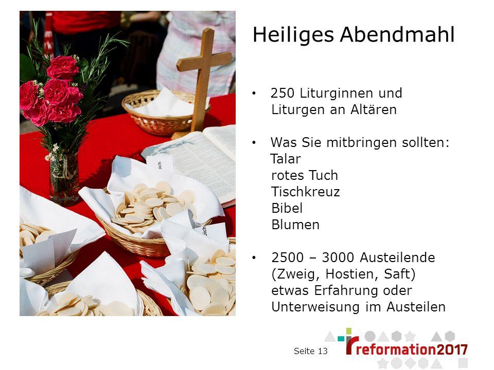 Seite 13 Heiliges Abendmahl 250 Liturginnen und Liturgen an Altären Was Sie mitbringen sollten: Talar rotes Tuch Tischkreuz Bibel Blumen 2500 – 3000 Austeilende (Zweig, Hostien, Saft) etwas Erfahrung oder Unterweisung im Austeilen