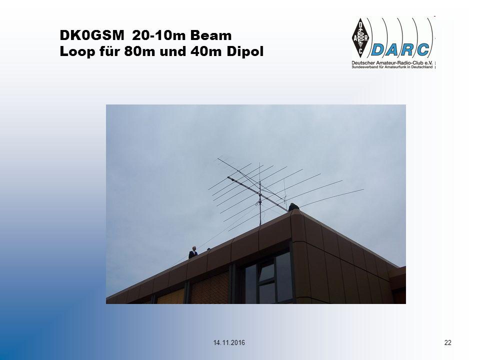 DK0GSM 20-10m Beam Loop für 80m und 40m Dipol 14.11.201622