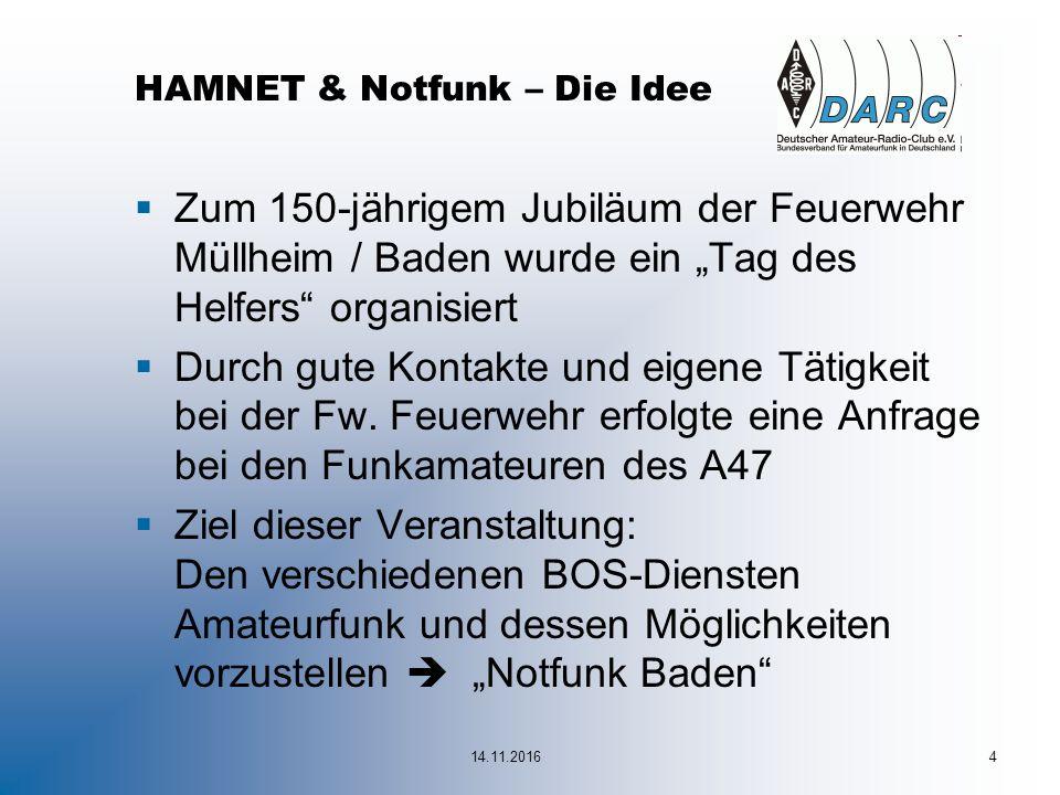 """14.11.20164 HAMNET & Notfunk – Die Idee  Zum 150-jährigem Jubiläum der Feuerwehr Müllheim / Baden wurde ein """"Tag des Helfers organisiert  Durch gute Kontakte und eigene Tätigkeit bei der Fw."""
