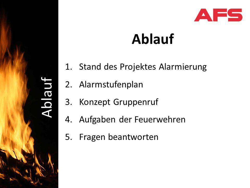 1.Stand des Projektes Alarmierung 2.Alarmstufenplan 3.Konzept Gruppenruf 4.Aufgaben der Feuerwehren 5.Fragen beantworten Schadenbekämpfung Ablauf