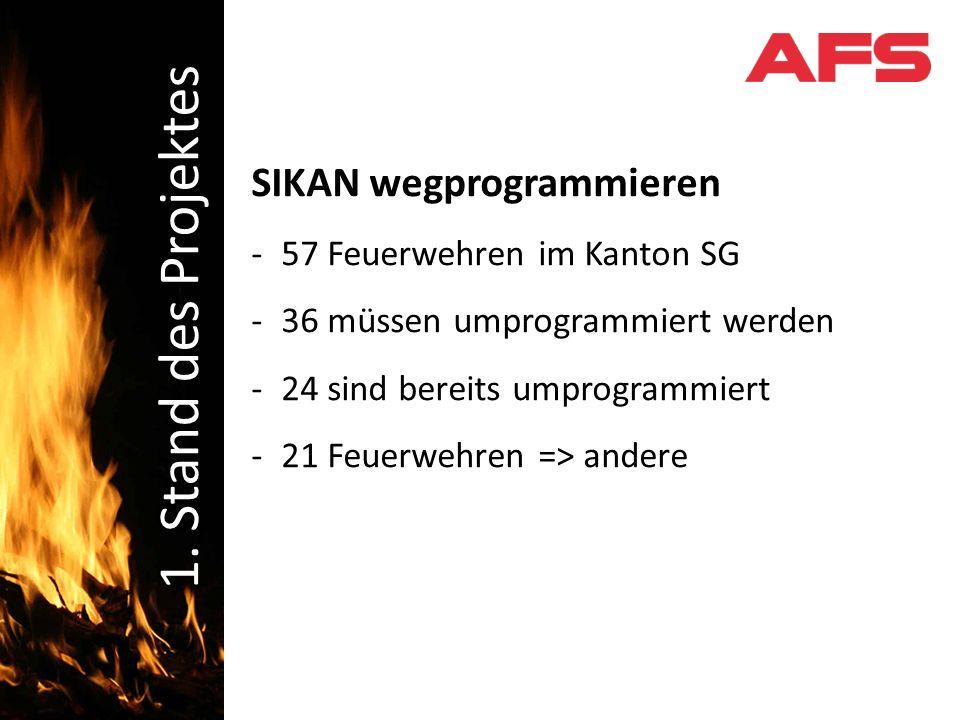 SIKAN wegprogrammieren -57 Feuerwehren im Kanton SG -36 müssen umprogrammiert werden -24 sind bereits umprogrammiert -21 Feuerwehren => andere Schadenbekämpfung 1.