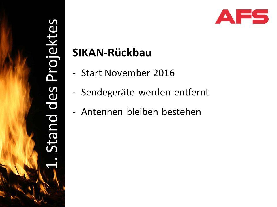 SIKAN-Rückbau -Start November 2016 -Sendegeräte werden entfernt -Antennen bleiben bestehen Schadenbekämpfung 1.