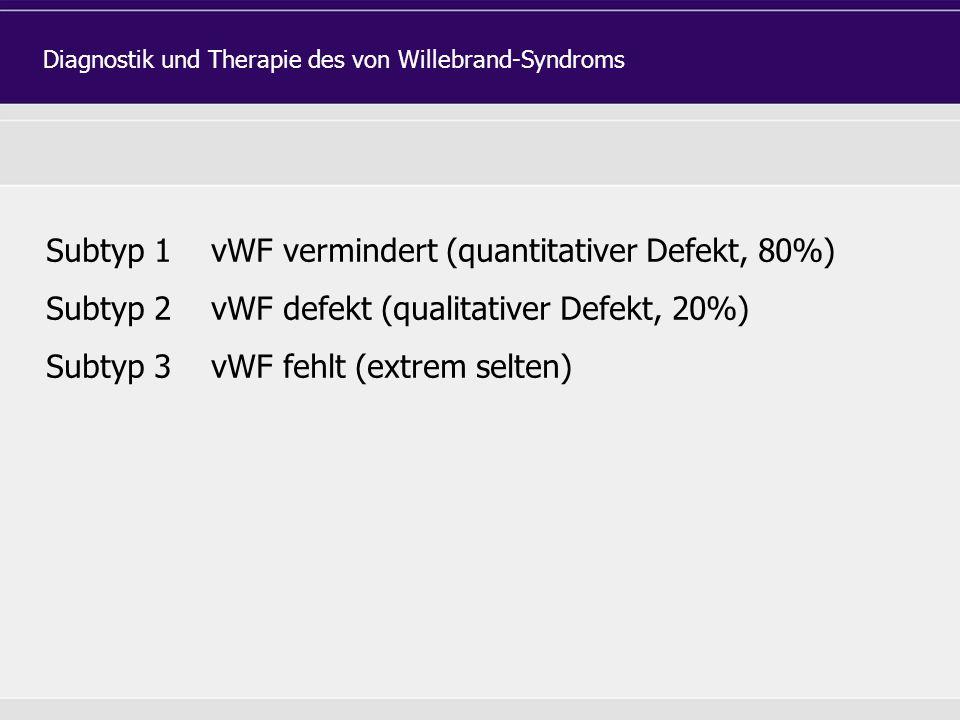 Subtyp 1 vWF vermindert (quantitativer Defekt, 80%) Subtyp 2 vWF defekt (qualitativer Defekt, 20%) Subtyp 3 vWF fehlt (extrem selten) Diagnostik und Therapie des von Willebrand-Syndroms