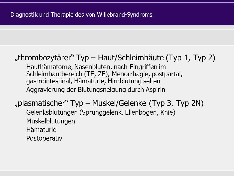 """""""thrombozytärer Typ – Haut/Schleimhäute (Typ 1, Typ 2) Hauthämatome, Nasenbluten, nach Eingriffen im Schleimhautbereich (TE, ZE), Menorrhagie, postpartal, gastrointestinal, Hämaturie, Hirnblutung selten Aggravierung der Blutungsneigung durch Aspirin """"plasmatischer Typ – Muskel/Gelenke (Typ 3, Typ 2N) Gelenksblutungen (Sprunggelenk, Ellenbogen, Knie) Muskelblutungen Hämaturie Postoperativ Diagnostik und Therapie des von Willebrand-Syndroms"""