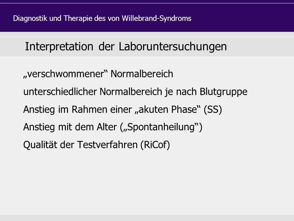 """Interpretation der Laboruntersuchungen """"verschwommener Normalbereich unterschiedlicher Normalbereich je nach Blutgruppe Anstieg im Rahmen einer """"akuten Phase (SS) Anstieg mit dem Alter (""""Spontanheilung ) Qualität der Testverfahren (RiCof) Diagnostik und Therapie des von Willebrand-Syndroms"""