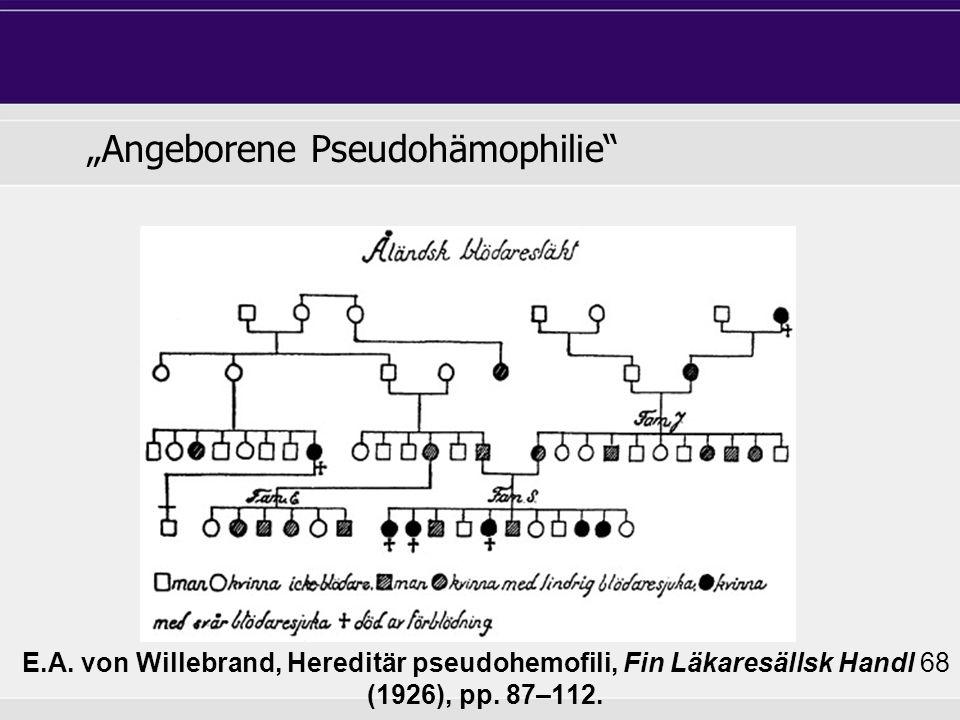 E.A. von Willebrand, Hereditär pseudohemofili, Fin Läkaresällsk Handl 68 (1926), pp.