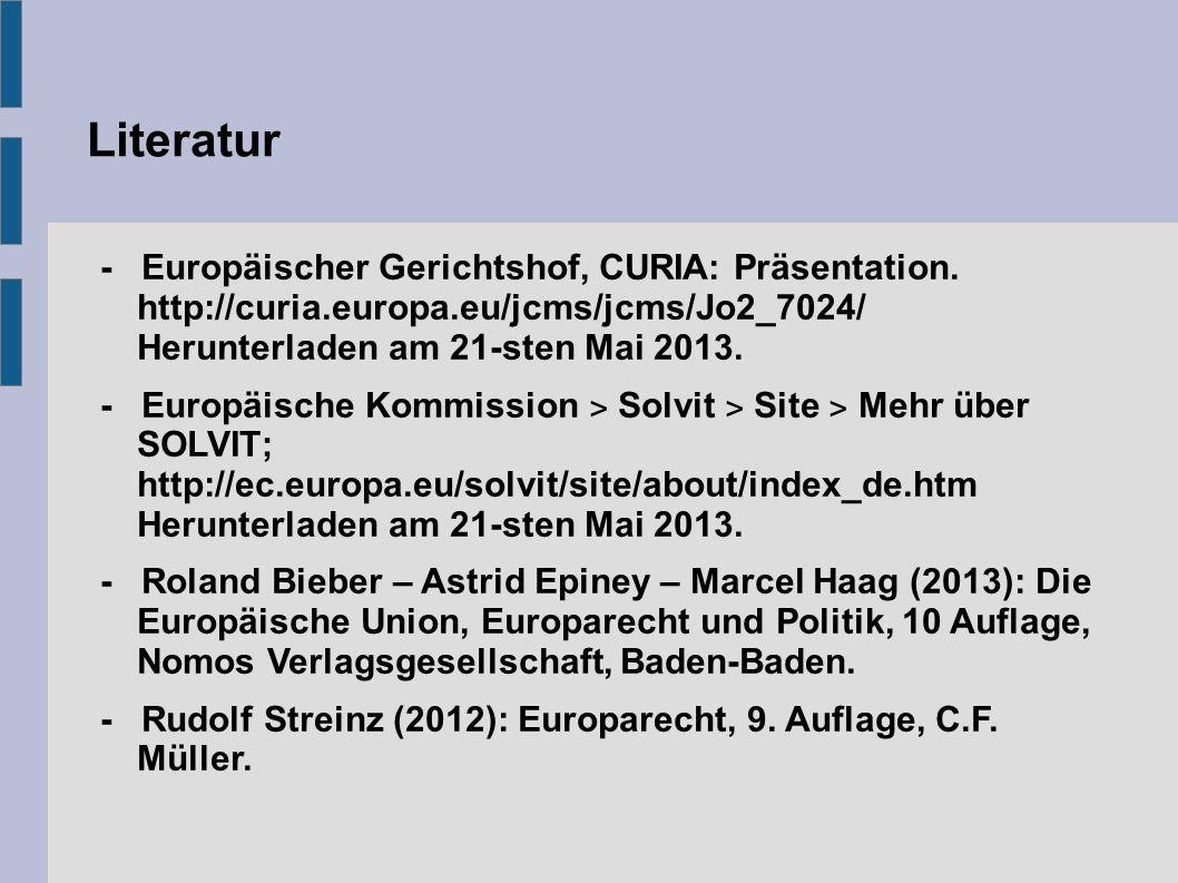 Literatur - Europäischer Gerichtshof, CURIA: Präsentation.