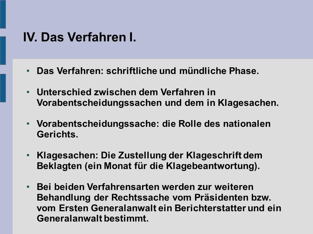 IV. Das Verfahren I. Das Verfahren: schriftliche und mündliche Phase.