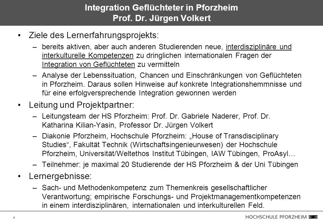 2 Integration Geflüchteter in Pforzheim Prof. Dr.