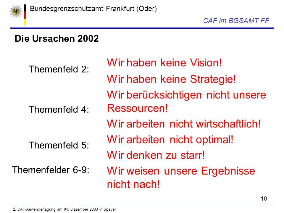 10 Bundesgrenzschutzamt Frankfurt (Oder) CAF im BGSAMT FF Die Ursachen 2002 Themenfeld 2: Wir haben keine Vision.