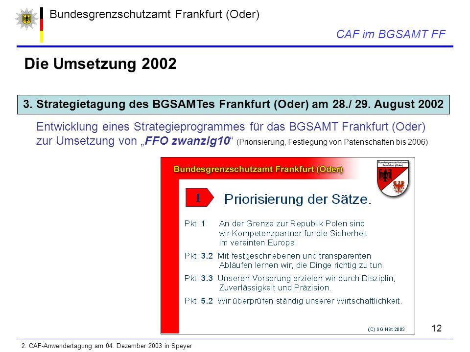 12 Bundesgrenzschutzamt Frankfurt (Oder) CAF im BGSAMT FF Die Umsetzung 2002 3.