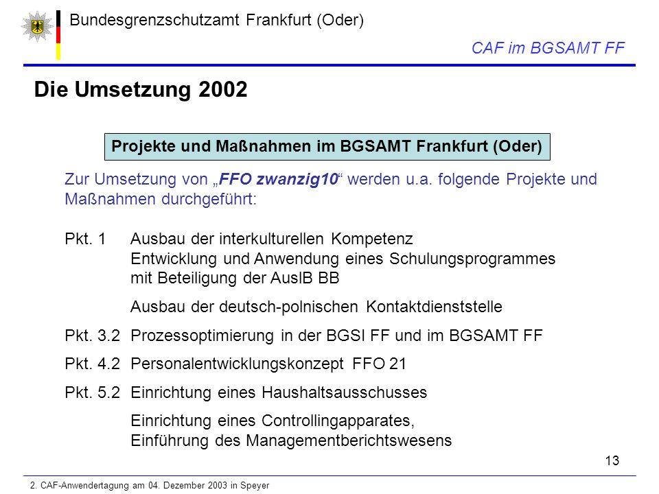 """13 Bundesgrenzschutzamt Frankfurt (Oder) CAF im BGSAMT FF Die Umsetzung 2002 Projekte und Maßnahmen im BGSAMT Frankfurt (Oder) Zur Umsetzung von """"FFO zwanzig10 werden u.a."""