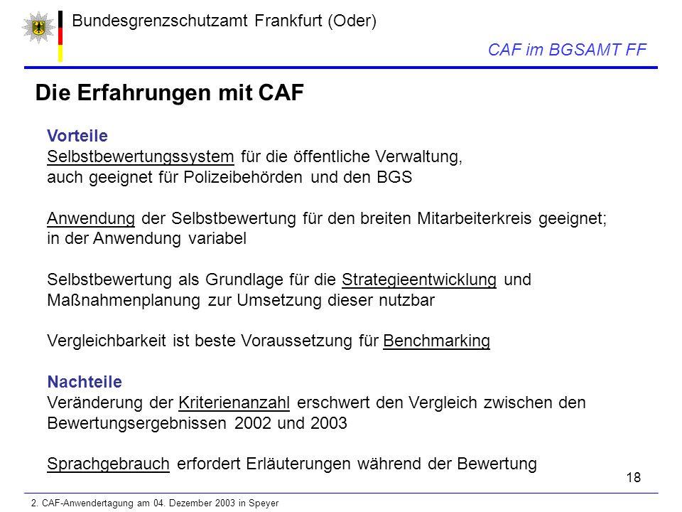 18 Bundesgrenzschutzamt Frankfurt (Oder) CAF im BGSAMT FF Die Erfahrungen mit CAF Vorteile Selbstbewertungssystem für die öffentliche Verwaltung, auch geeignet für Polizeibehörden und den BGS Anwendung der Selbstbewertung für den breiten Mitarbeiterkreis geeignet; in der Anwendung variabel Selbstbewertung als Grundlage für die Strategieentwicklung und Maßnahmenplanung zur Umsetzung dieser nutzbar Vergleichbarkeit ist beste Voraussetzung für Benchmarking Nachteile Veränderung der Kriterienanzahl erschwert den Vergleich zwischen den Bewertungsergebnissen 2002 und 2003 Sprachgebrauch erfordert Erläuterungen während der Bewertung 2.