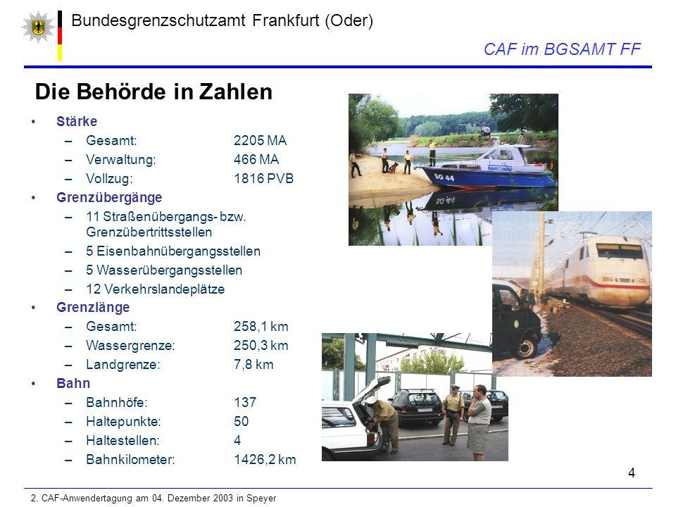4 Bundesgrenzschutzamt Frankfurt (Oder) Die Behörde in Zahlen CAF im BGSAMT FF Stärke –Gesamt:2205 MA –Verwaltung:466 MA –Vollzug:1816 PVB Grenzübergänge –11 Straßenübergangs- bzw.
