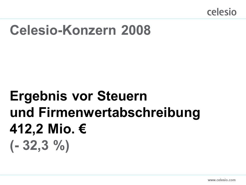 www.celesio.com Celesio-Konzern 2008 Ergebnis vor Steuern und Firmenwertabschreibung 412,2 Mio.