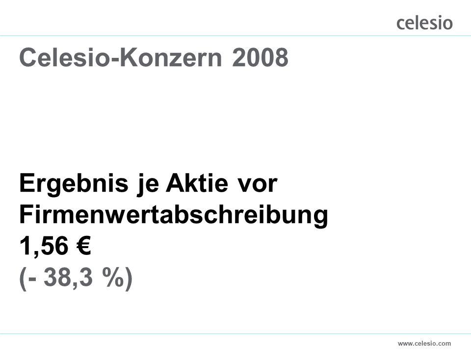 www.celesio.com Celesio-Konzern 2008 Ergebnis je Aktie vor Firmenwertabschreibung 1,56 € (- 38,3 %)