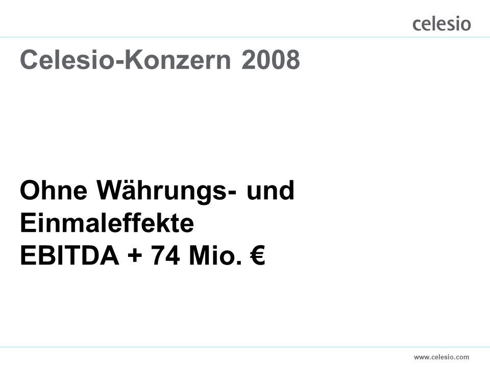 www.celesio.com Celesio-Konzern 2008 Ohne Währungs- und Einmaleffekte EBITDA + 74 Mio. €