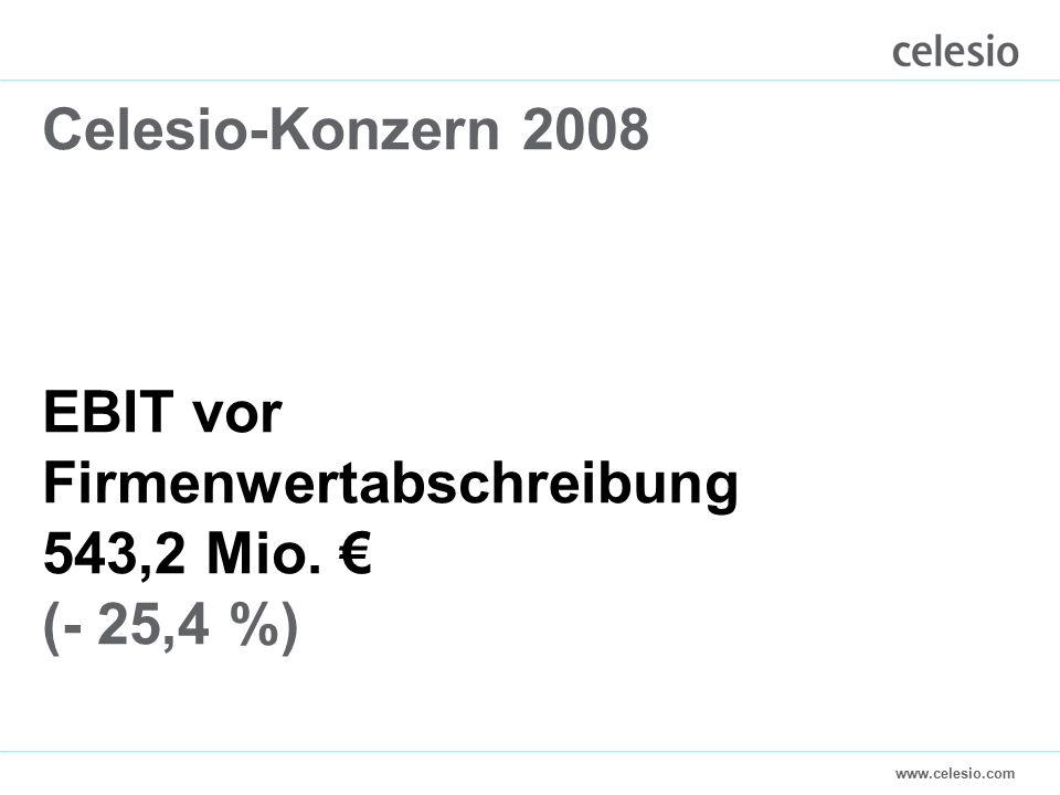 www.celesio.com Celesio-Konzern 2008 EBIT vor Firmenwertabschreibung 543,2 Mio. € (- 25,4 %)