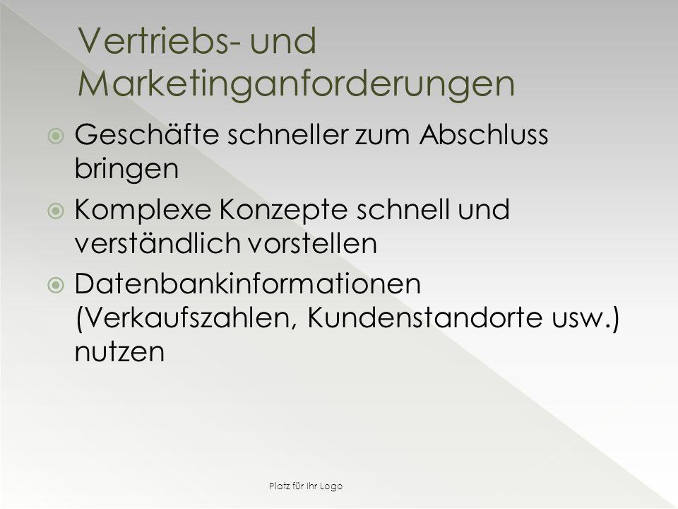  Geschäfte schneller zum Abschluss bringen  Komplexe Konzepte schnell und verständlich vorstellen  Datenbankinformationen (Verkaufszahlen, Kundenstandorte usw.) nutzen Vertriebs- und Marketinganforderungen Platz für Ihr Logo