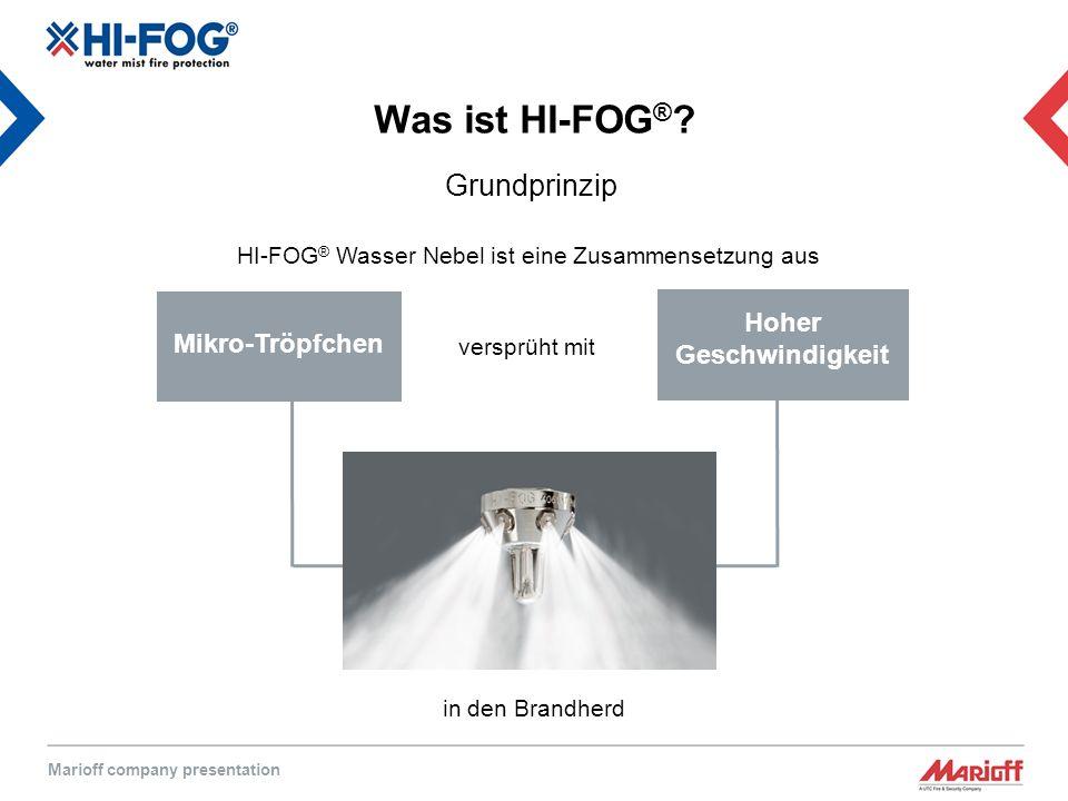 Marioff company presentation Mikro-Tröpfchen Hoher Geschwindigkeit HI-FOG ® Wasser Nebel ist eine Zusammensetzung aus versprüht mit Was ist HI-FOG ® .