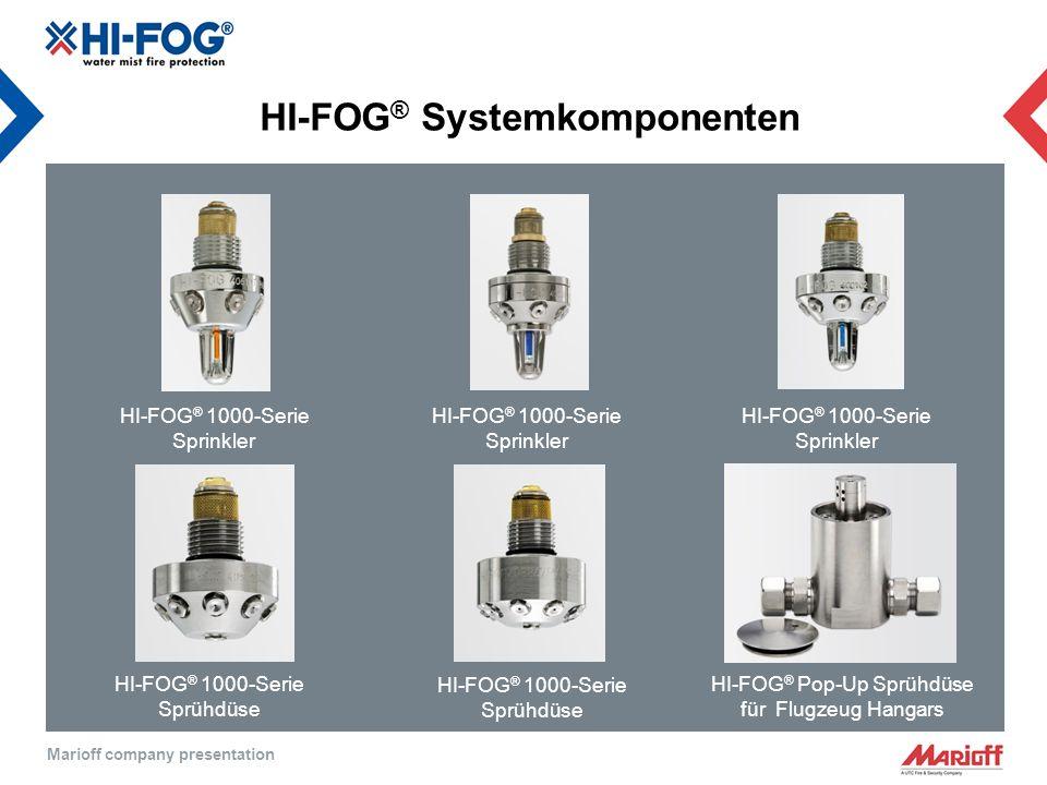 Marioff company presentation HI-FOG ® Systemkomponenten HI-FOG ® 1000-Serie Sprinkler HI-FOG ® 1000-Serie Sprinkler HI-FOG ® 1000-Serie Sprinkler HI-FOG ® 1000-Serie Sprühdüse HI-FOG ® Pop-Up Sprühdüse für Flugzeug Hangars HI-FOG ® 1000-Serie Sprühdüse
