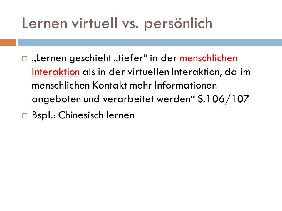 Lernen virtuell vs.
