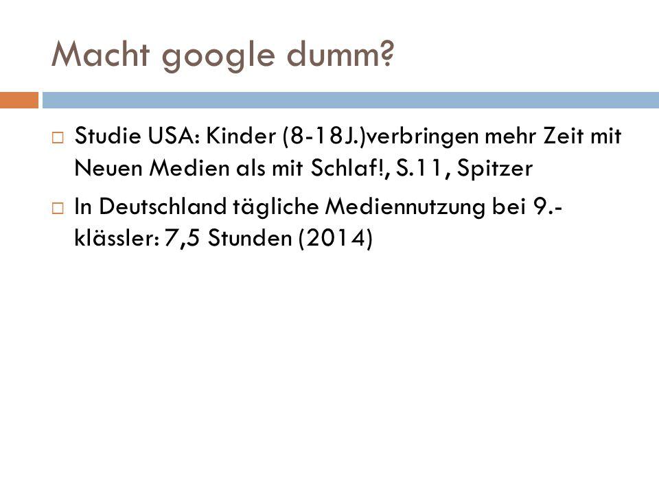 Macht google dumm.
