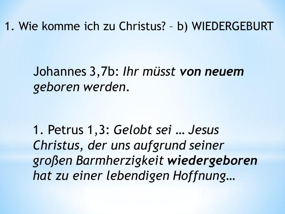 1. Wie komme ich zu Christus. – b) WIEDERGEBURT Johannes 3,7b: Ihr müsst von neuem geboren werden.