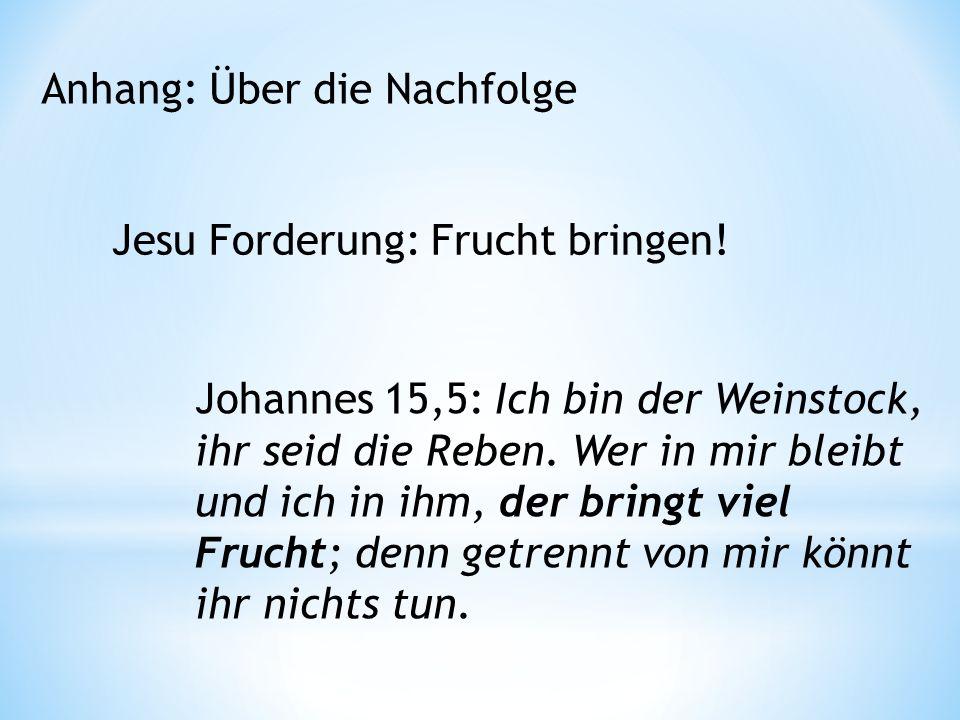 Anhang: Über die Nachfolge Jesu Forderung: Frucht bringen.