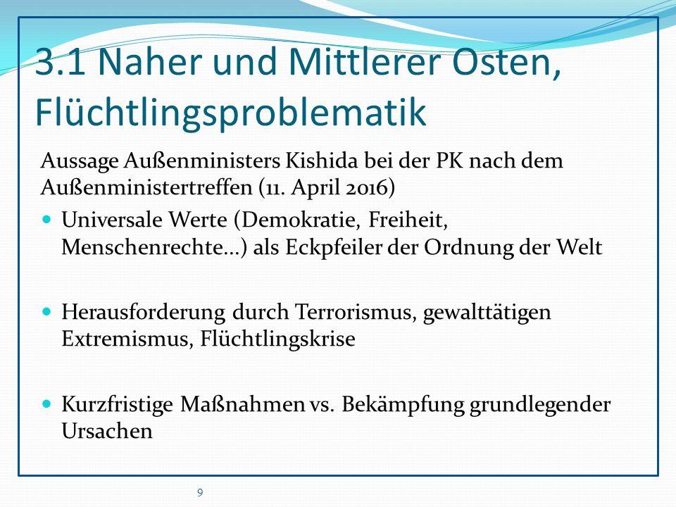 3.1 Naher und Mittlerer Osten, Flüchtlingsproblematik Aussage Außenministers Kishida bei der PK nach dem Außenministertreffen (11.