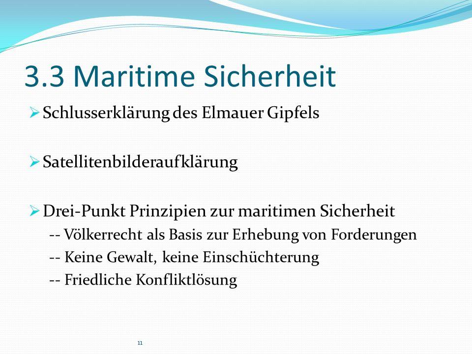 3.3 Maritime Sicherheit  Schlusserklärung des Elmauer Gipfels  Satellitenbilderaufklärung  Drei-Punkt Prinzipien zur maritimen Sicherheit -- Völkerrecht als Basis zur Erhebung von Forderungen -- Keine Gewalt, keine Einschüchterung -- Friedliche Konfliktlösung 11