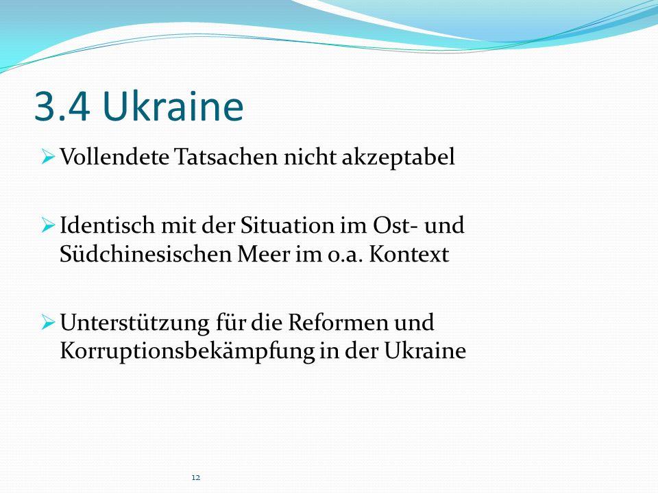 3.4 Ukraine  Vollendete Tatsachen nicht akzeptabel  Identisch mit der Situation im Ost- und Südchinesischen Meer im o.a.