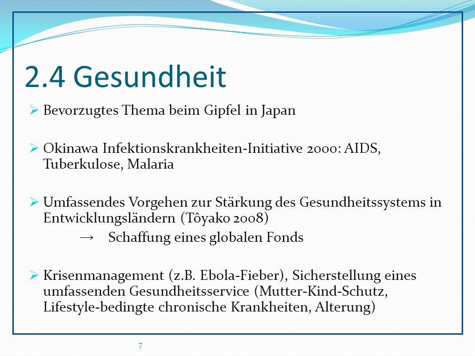 2.4 Gesundheit  Bevorzugtes Thema beim Gipfel in Japan  Okinawa Infektionskrankheiten-Initiative 2000: AIDS, Tuberkulose, Malaria  Umfassendes Vorgehen zur Stärkung des Gesundheitssystems in Entwicklungsländern (Tôyako 2008) → Schaffung eines globalen Fonds  Krisenmanagement (z.B.