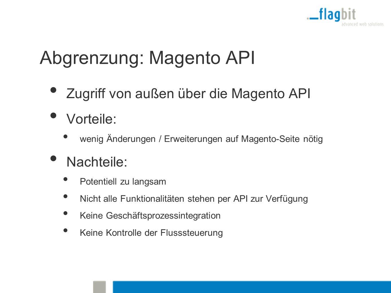 Abgrenzung: Magento API Zugriff von außen über die Magento API Vorteile: wenig Änderungen / Erweiterungen auf Magento-Seite nötig Nachteile: Potentiell zu langsam Nicht alle Funktionalitäten stehen per API zur Verfügung Keine Geschäftsprozessintegration Keine Kontrolle der Flusssteuerung