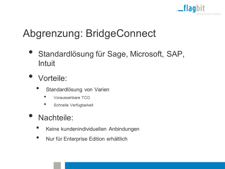 Abgrenzung: BridgeConnect Standardlösung für Sage, Microsoft, SAP, Intuit Vorteile: Standardlösung von Varien Voraussehbare TCO Schnelle Verfügbarkeit Nachteile: Keine kundenindividuellen Anbindungen Nur für Enterprise Edition erhältlich