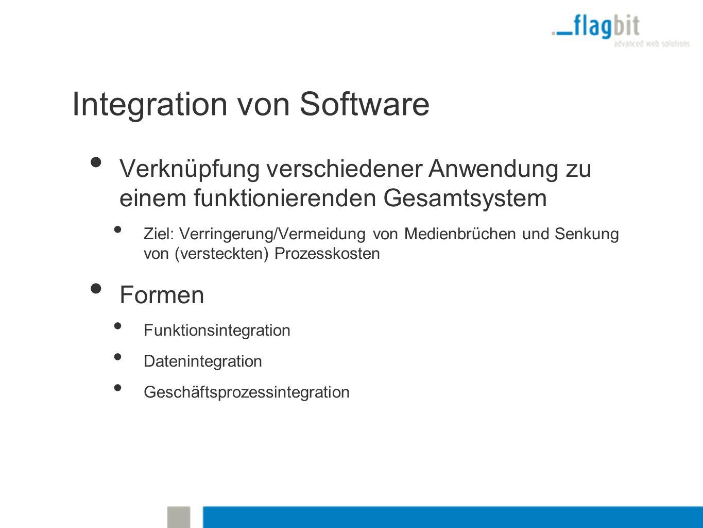 Integration von Software Verknüpfung verschiedener Anwendung zu einem funktionierenden Gesamtsystem Ziel: Verringerung/Vermeidung von Medienbrüchen und Senkung von (versteckten) Prozesskosten Formen Funktionsintegration Datenintegration Geschäftsprozessintegration